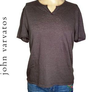 John Varvatos Linen Stripe Split T Shirt Sz L